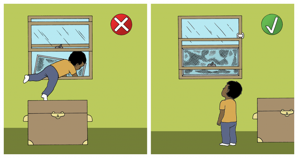 Illustration of furniture placed near a window with a child attempting to escape