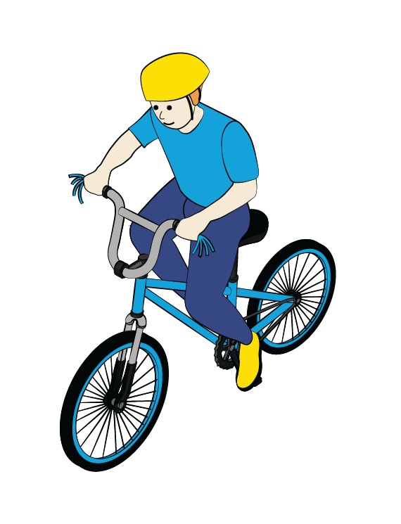 Illustration of boy riding bicycle, wearing helmet