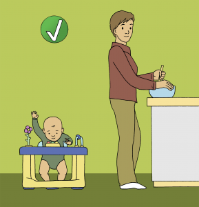 Illustration of caregiver watching child in walker