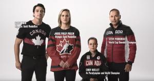 Olympians Scott Moir, Marie-Philip Poulin, Steve Podborski and Paralympian Cindy Ouellet in sports uniforms